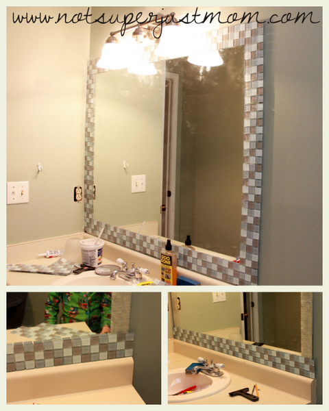 Bathroom Mirror Adhesive do it herself: how to mosaic tile a mirror - caffeine and cabernet