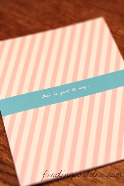 Pear Tree Stationery, Angled Stripes, Finding Walden