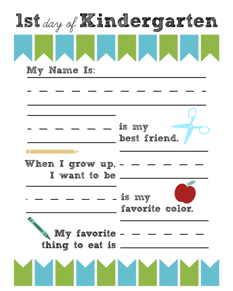 1st day of kindergarten printable